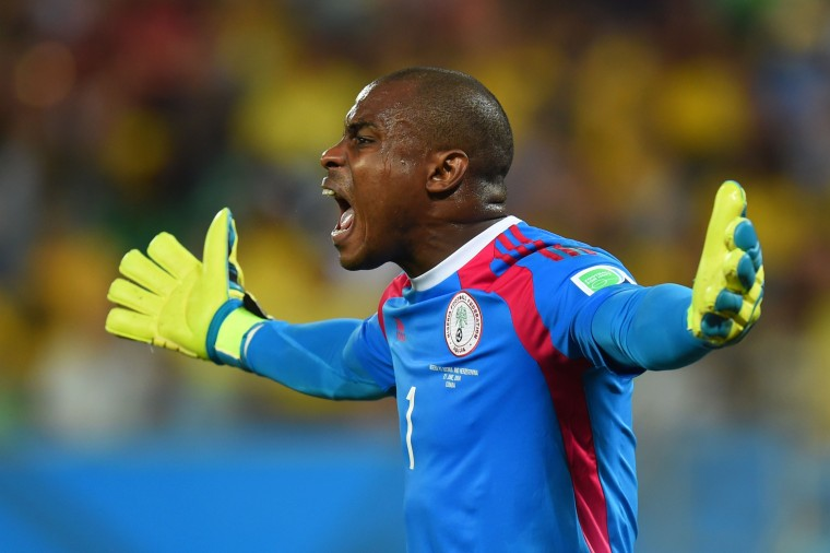 Vincent Enyeama of Nigeria reacts during the 2014 FIFA World Cup Group F match between Nigeria and Bosnia-Herzegovina at Arena Pantanal in Cuiaba, Brazil. (Stu Forster/Getty Images)