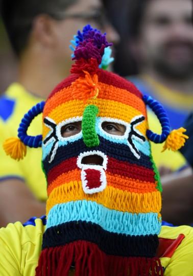 An Ecuador fan masked before the 2014 FIFA World Cup Brazil Group E match between Honduras and Ecuador at Arena da Baixada in Curitiba, Brazil. (Matthias Hangst/Getty Images)