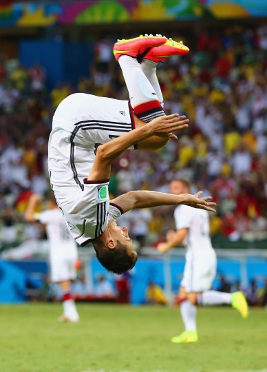 Miroslav Klose of Germany does a flip in celebration of scoring his team's second goal during the 2014 FIFA World Cup Brazil Group G match between Germany and Ghana at Castelao in Fortaleza, Brazil. (Martin Rose/Getty Images)