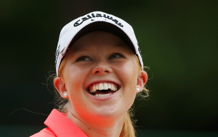 Stephanie Meadow of Northern Ireland smiles as she walks on the second hole during the third round of the 69th U.S. Women's Open at Pinehurst Resort & Country Club, Course No. 2 in Pinehurst, N.C. (Scott Halleran/Getty Images)