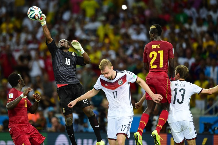 Ghana's goalkeeper Fatau Dauda makes a save during a Group G football match between Germany and Ghana at the Castelao Stadium in Fortaleza during the 2014 FIFA World Cup. (Javier Soriano/AFP-Getty Images)