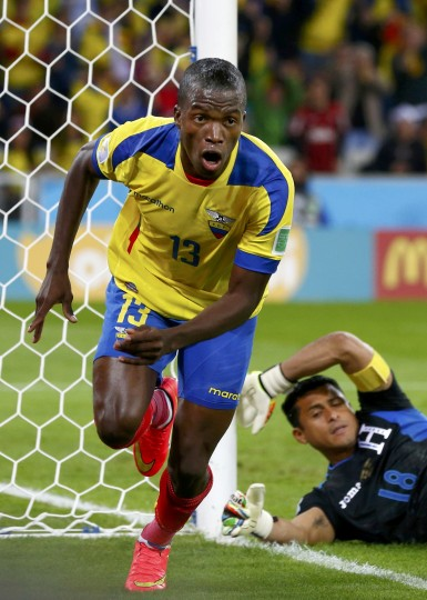 Carlo Costly of Honduras celebrates after scoring a goal past goalkeeper Noel Valladares of Honduras during their 2014 World Cup Group E soccer match at the Baixada arena in Curitiba, Brazil. (Darren Staples/Reuters)