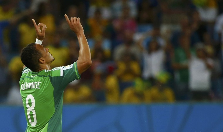Nigeria's Peter Odemwingie celebrates scoring his goal against Bosnia during their 2014 World Cup Group F soccer match at the Pantanal arena in Cuiaba. (Michael Dalder/Reuters)