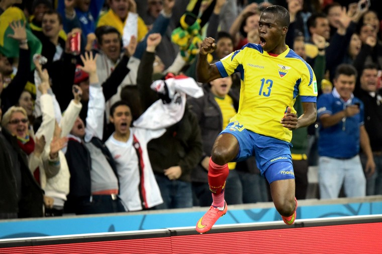 Ecuador's forward Enner Valencia celebrates after scoring during a Group E football match between Honduras and Ecuador at the Baixada Arena in Curitiba during the 2014 FIFA World Cup. (Gabriel Bouys/AFP-Getty Images)