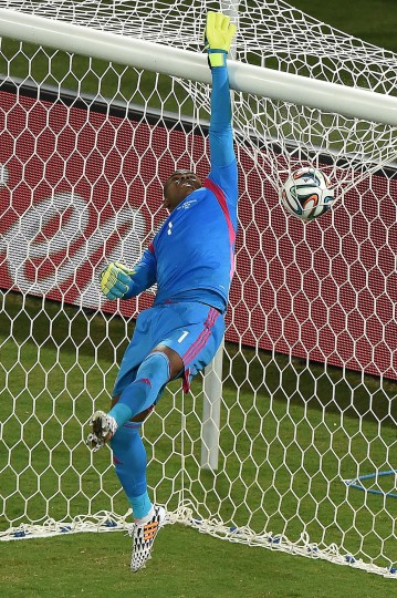 Nigeria's goalkeeper Vincent Enyeama jumps for the ball during the Group F football match between Nigeria and Bosnia-Hercegovina at the Pantanal Arena in Cuiaba during the 2014 FIFA World Cup. (Luis Acosta/AFP-Getty Images)