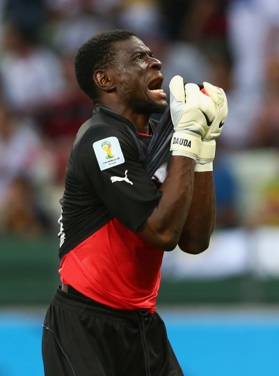 Fatawu Dauda of Ghana reacts during the 2014 FIFA World Cup Brazil Group G match between Germany and Ghana at Castelao in Fortaleza, Brazil. (Martin Rose/Getty Images)