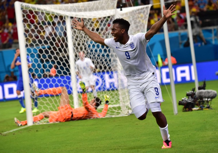 England forward Daniel Sturridge celebrates after scoring a goal during a Group D football match between England and Italy at the Amazonia Arena in Manaus during the 2014 FIFA World Cup. (Giuseppe Cacace/AFP-Getty Images)