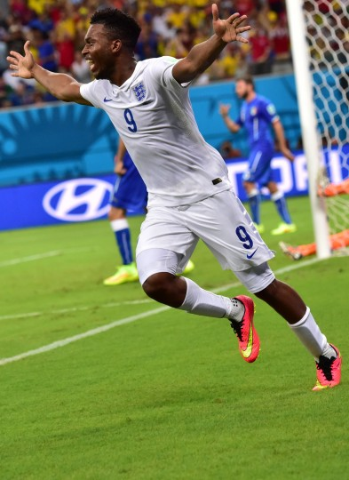 England's forward Daniel Sturridge celebrates after scoring a goal during a Group D football match between England and Italy at the Amazonia Arena in Manaus during the 2014 FIFA World Cup. (Giuseppe Cacace/AFP-Getty Images)