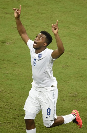England's forward Daniel Sturridge celebrates after scoring during a Group D football match between England and Italy at the Amazonia Arena in Manaus during the 2014 FIFA World Cup. (Odd Andersen/AFP/-Getty Images)