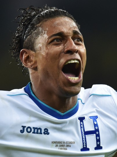 Honduras' forward Carlo Costly celebrates after scoring during a Group E football match between Honduras and Ecuador at the Baixada Arena in Curitiba during the 2014 FIFA World Cup. (Rodrigo Arangua/AFP-Getty Images)