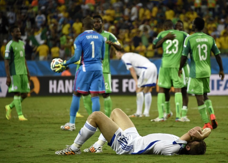 Bosnia-Hercegovina's midfielder Tino Susic reacts at the end of the Group F football match between Nigeria and Bosnia-Hercegovina at the Pantanal Arena in Cuiaba during the 2014 FIFA World Cup. Nigeria won 1-0. (Juan Barreto/AFP-Getty Images)
