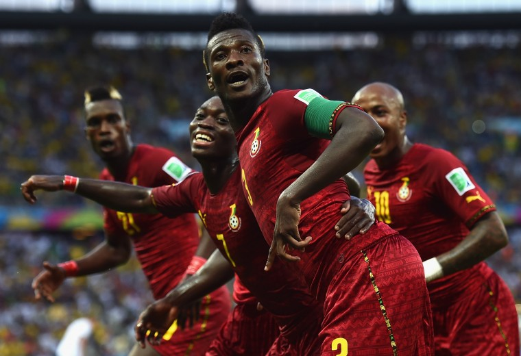 Asamoah Gyan of Ghana celebrates scoring his team's second goal during the 2014 FIFA World Cup Brazil Group G match between Germany and Ghana at Castelao in Fortaleza, Brazil. (Laurence Griffiths/Getty Images)