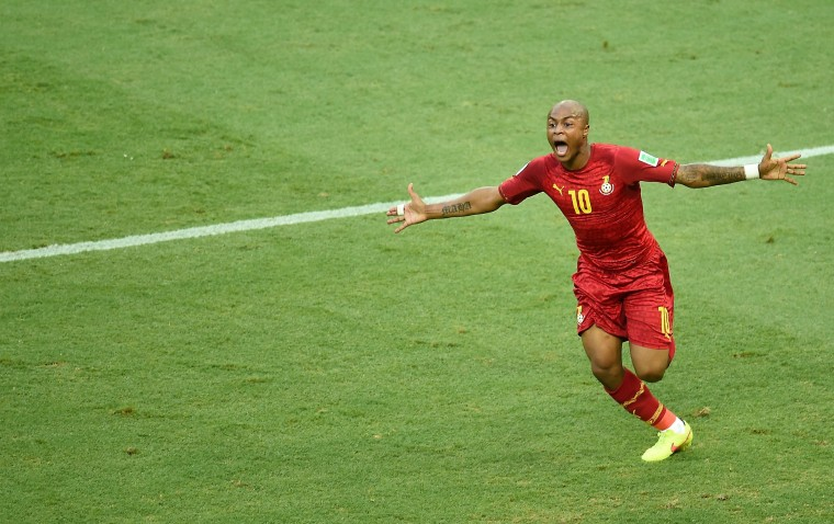 Ghana's midfielder Andre Ayew celebrates after scoring during a Group G football match between Germany and Ghana at the Castelao Stadium in Fortaleza during the 2014 FIFA World Cup. (Emmanuel Dunand/AFP-Getty Images)
