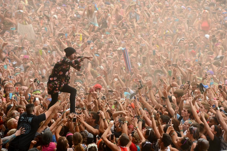 Tyler Joseph of Twenty One Pilots performs during day 3 of the Firefly Music Festival in Dover, Del. (Theo Wargo/Getty Images for Firefly Music Festival)
