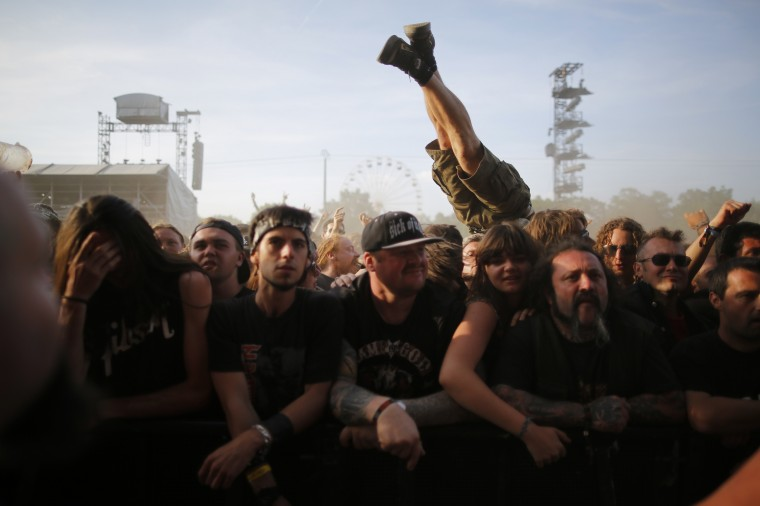 Front row during the Hellfest Music Festival in Clisson, western France. (Stephane Mahe/Reuters)