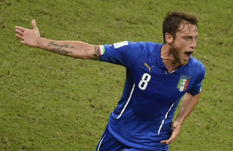 Italy's midfielder Claudio Marchisio celebrates scoring during a Group D football match between England and Italy at the Amazonia Arena in Manaus during the 2014 FIFA World Cup. (Odd Andersen/AFP-Getty Images)