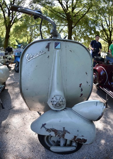 A Vespa is parked in front of the Sordello Square in Mantova durin Vespa World Days. Vespa lovers from all over Europe and further afield gather together for the largest and best-known rally of its kind worldwide. (Alberto Lingria/AFP-Getty Images)