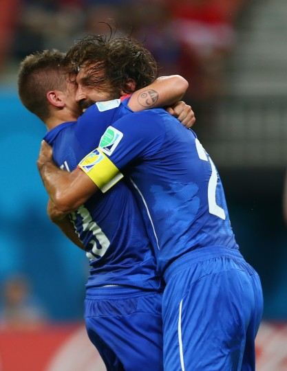 Marco Verratti of Italy and Andrea Pirlo celebrate Italy's first goal during the 2014 FIFA World Cup Brazil Group D match between England and Italy at Arena Amazonia Manaus, Brazil. (Elsa/Getty Images)