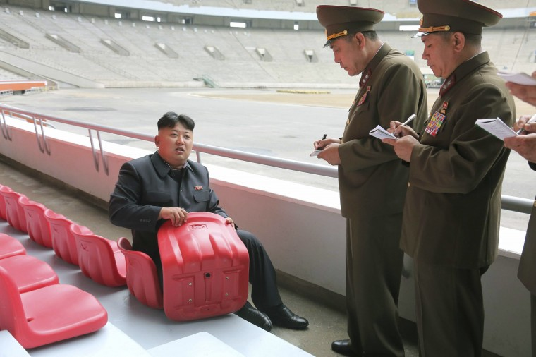 North Korean leader Kim Jong Un gives field guidance to the remodeling of the May Day Stadium in this undated photo released by North Korea's Korean Central News Agency (KCNA) in Pyongyang (KCNA/via Reuters)