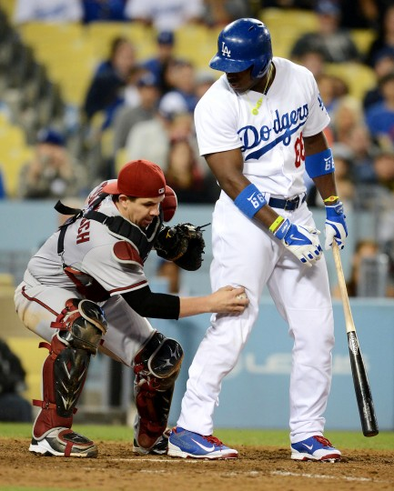 Arizona Diamondbacks catcher Tuffy Gosewisch tags out bater Yasiel Puig during the eighth inning of their game at Dodger Stadium. Despite the easy out, the Dodgers won 4-3. (Jayne Kamin-Oncea/USA Today Sports)