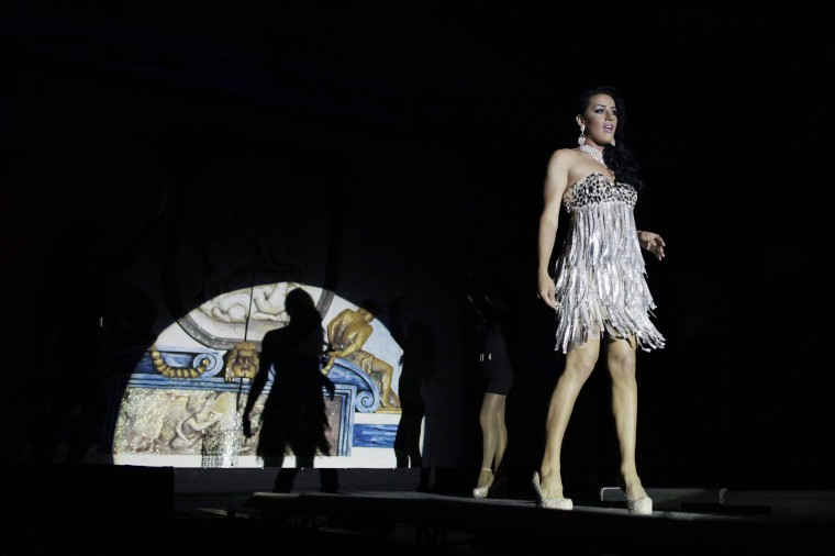 """Miss Gay Nicaragua 2013 Dallas Hernandez, also known as Elizabeth R'os, on the catwalk during the """"Miss Gay Nicaragua 2014"""" pageant in Managua. (Oswaldo Rivas/Reuters)"""