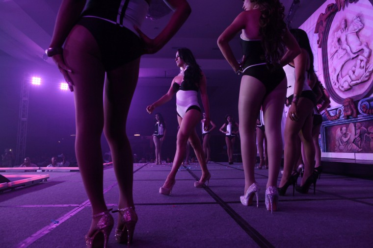 """Contestants on stage during the """"Miss Gay Nicaragua 2014"""" competition in Managua. (Oswaldo Rivas/Reuters)"""