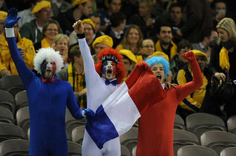 French supporters cheer during the second rugby union test match between Australia and France at Etihad Stadium in Melbourne. Australia won 6-0. (Mal Fairclough/AFP/Getty Images ORG XMIT: