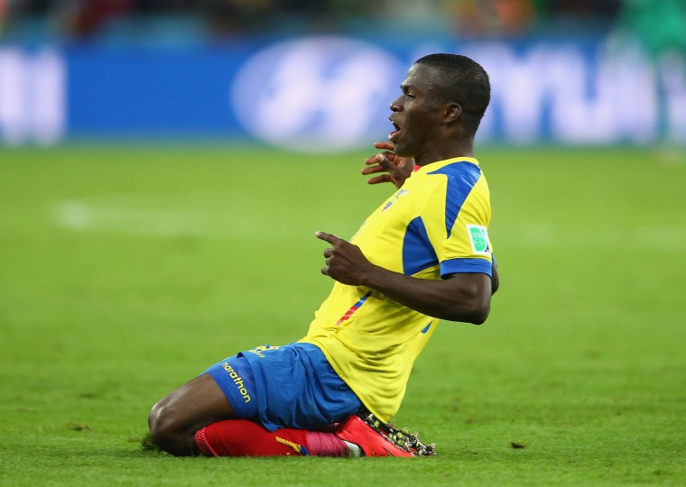Enner Valencia of Ecuador celebrates scoring his team's second goal during the 2014 FIFA World Cup Brazil Group E match between Honduras and Ecuador at Arena da Baixada in Curitiba, Brazil. (Julian Finney/Getty Images)