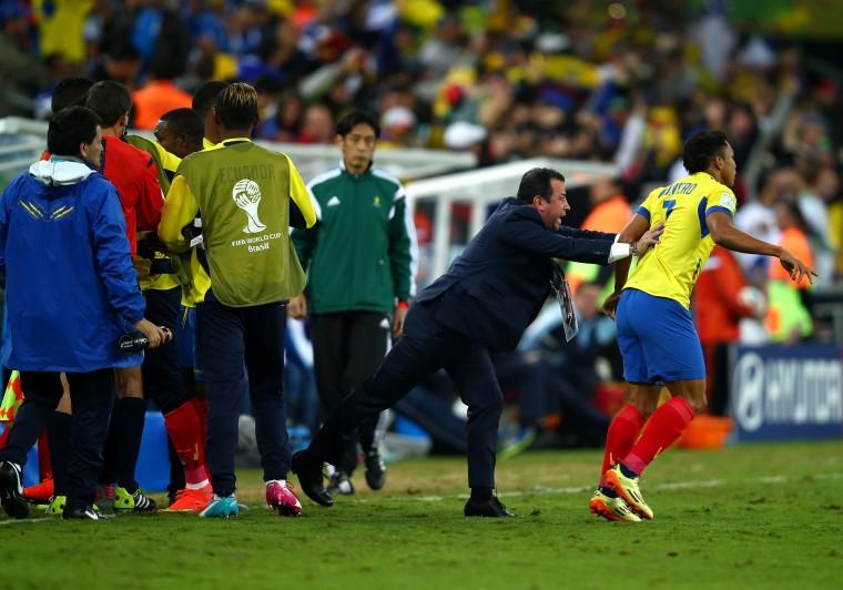 Head coach Reinaldo Rueda encourages Jefferson Montero of Ecuador into the pitch during the 2014 FIFA World Cup Brazil Group E match between Honduras and Ecuador at Arena da Baixada in Curitiba, Brazil. (Clive Rose/Getty Images)