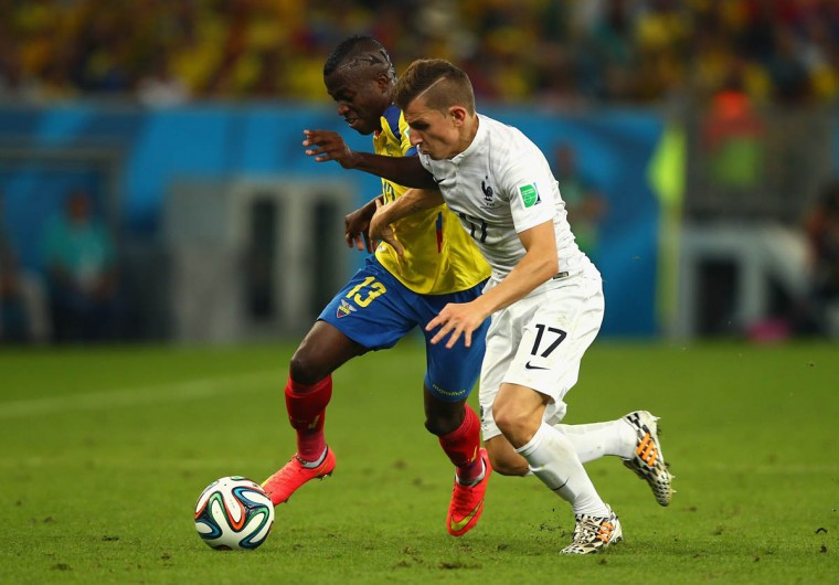 Enner Valencia of Ecuador controls the ball against Lucas Digne of France during the 2014 FIFA World Cup Brazil Group E match between Ecuador and France at Maracana on June 25, 2014 in Rio de Janeiro, Brazil. (Clive Rose/Getty Images)