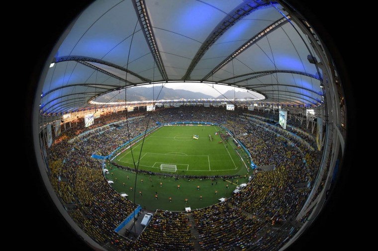 A general view of the stadium is pictured before the start of a Group E football match between Ecuador and France at the Maracana Stadium in Rio de Janeiro during the 2014 FIFA World Cup on June 25, 2014. (Francois Xavier/Getty Images)