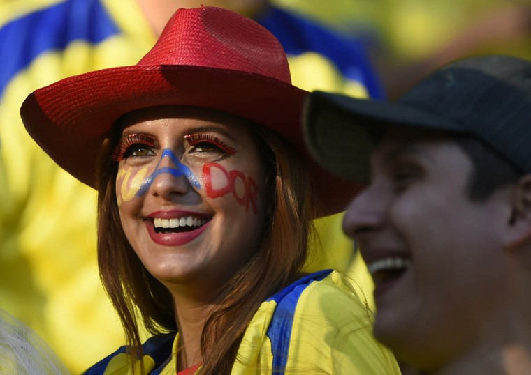 Ecuador fans are pictured before the start of a Group E football match between Ecuador and France at the Maracana Stadium in Rio de Janeiro during the 2014 FIFA World Cup on June 25, 2014. (Fabrice Coffrini/Getty Images)