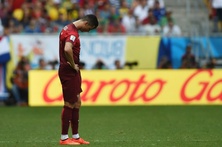Portugal's forward and captain Cristiano Ronaldo reacts during the Group G football match between Germany and Portugal at the Fonte Nova Arena in Salvador on June 16, 2014. (FRANCISCO LEONG/AFP/Getty Images)