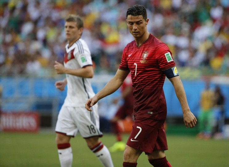 Portugal's Cristiano Ronaldo is seen on the field during their 2014 World Cup Group G soccer match against Germany at the Fonte Nova arena in Salvador on June 16, 2014. (REUTERS/Jorge Silva)