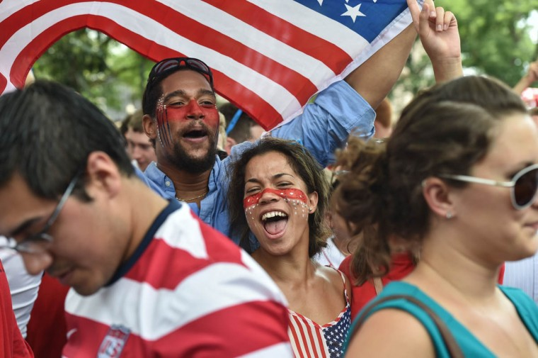 US fans react after the US played Germany in a 2014 FIFA World Cup Group G match on Dupont Circle in Washington on June 26, 2014. (Nicholas Kamm/Getty Images)