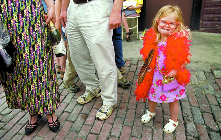 Three-year-old Maria Graham of Hunt Valley came to Hampden with her parents Scott and Bonnie to enter the Bawlmer's Best Hon Contest at Cafe Hon Saturday afternoon. She entered the contest with her mom and her dad used to live in Hampden when he was in college. (Sun photo, 2001)