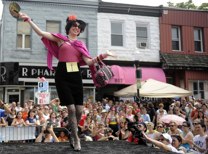 Bawlmer Hon contestant Meagan Lewns struts arount the stage at the 2010 Baltimore Hon Fest, held on The Avenue in Hampden. Barbara Haddock Taylor Baltimore Sun Staff]