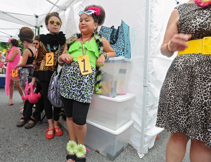 Baltimore, Md.--6/8/13-- Miss Honette contestants Kaylee Prestianni (#1), Evelynne Stins (#2) and others wait to ghet on the main stage for the contest during the 2013 Honfest in Hampden. (Kenneth K. Lam/Baltimore Sun )