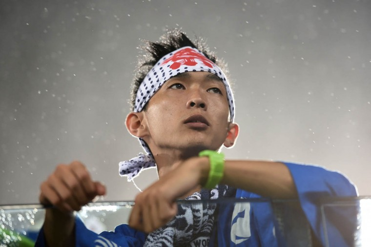A Japan fan looks on during the 2014 FIFA World Cup Brazil Group C match between Japan and Greece at Estadio das Dunas on June 19, 2014 in Natal, Brazil. (Laurence Griffiths/Getty Images)