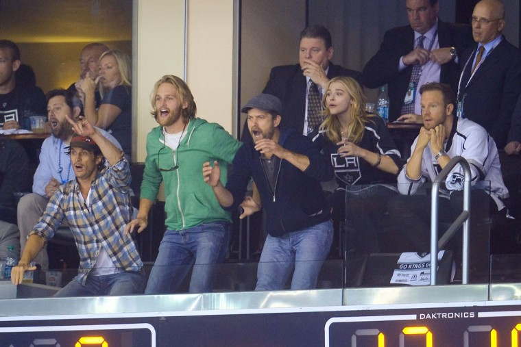 Oliver Hudson (left), Wyatt Russell, Joshua Jackson and Chloe Grace Moretz attend Game Five of the 2014 Stanley Cup Final between the Los Angeles Kings and the New York Rangers at the Staples Center on June 13, 2014 in Los Angeles, California. (Noel Vasquez/Getty Images)