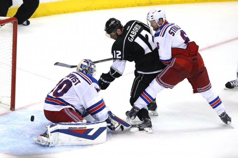 Marian Gaborik #12 of the Los Angeles Kings scores a goal past goaltender Henrik Lundqvist #30 of the New York Rangers in the third period during Game Five of the 2014 Stanley Cup Final at Staples Center on June 13, 2014 in Los Angeles, California. (Christian Petersen/Getty Images)