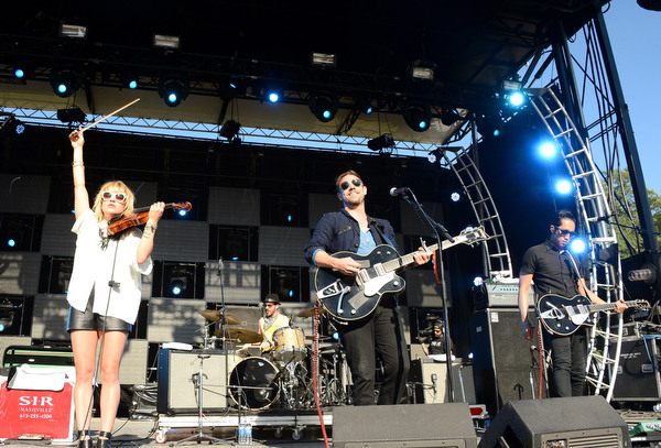 Anna Bulbrook, Mikel Jollett, Daren Taylor and Steven Chen of The Airborne Toxic Event perform onstage during day 2 of the Firefly Music Festival on June 20, 2014 in Dover, Delaware. (Theo Wargo/Getty Images)