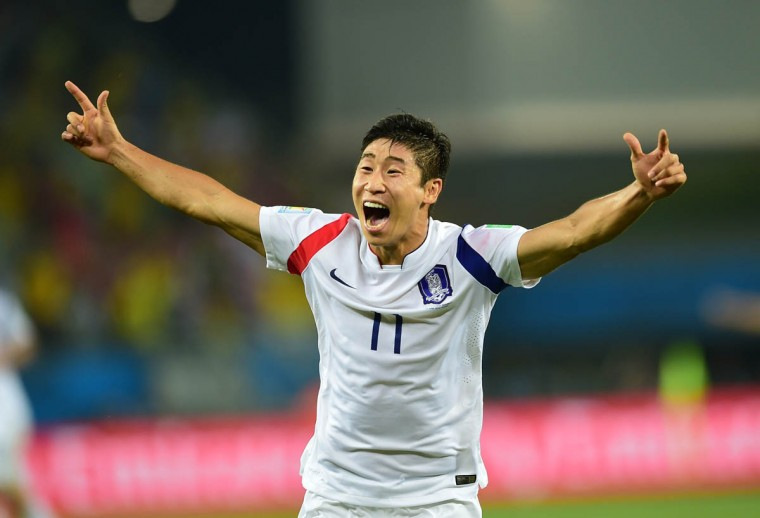 South Korea's forward Lee Keun-Ho celebrates after scoring during a Group H football match between Russia and South Korea in the Pantanal Arena in Cuiaba during the 2014 FIFA World Cup on June 17, 2014. (Jung Yeon-Je/Getty Images)