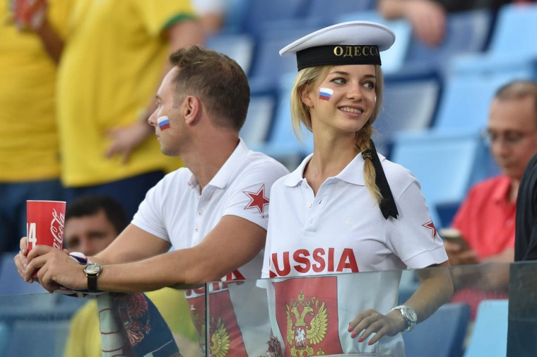 Russia fans attend the 2014 FIFA World Cup Group H football match between Russia and South Korea in the Pantanal Arena in Cuiaba on June 17, 2014. (Kirill Kudryavtsev/Getty Images)