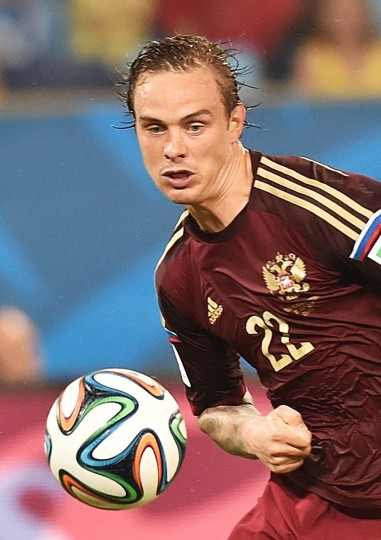 Russia's defender Andrei Yeshchenko plays the ball during the Group H football match between Russia and South Korea in the Pantanal Arena in Cuiaba during the 2014 FIFA World Cup on June 17, 2014. (Kirill Kudryavtsev/Getty Images)