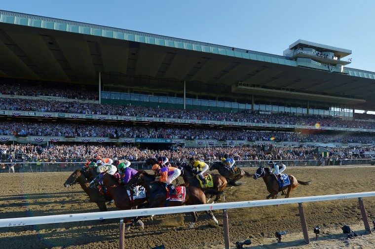 he field comes down the front stretch to start the 146th running of the Belmont Stakes at Belmont Park in Elmont, New York. (Drew Hallowell/Getty Images)