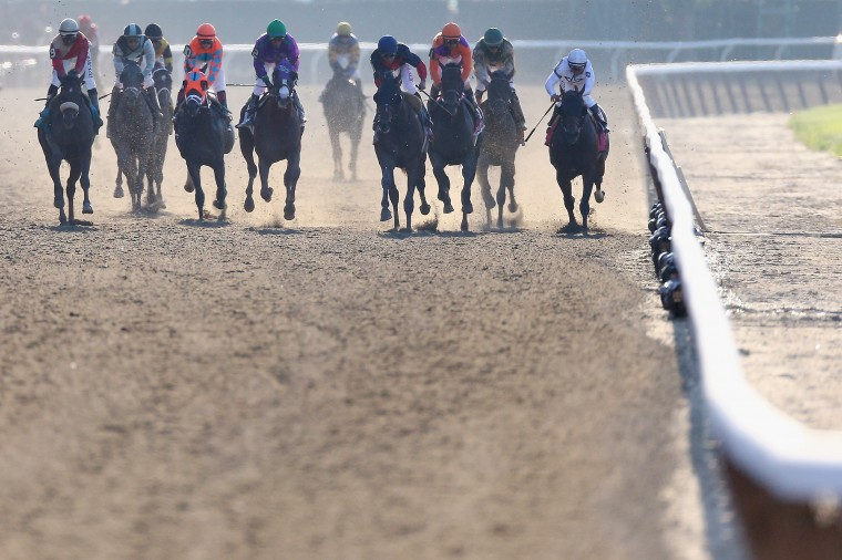The field comes down the front stretch during the 146th running of the Belmont Stakes at Belmont Park Elmont, N.Y. (Streeter Lecka/Getty Images)