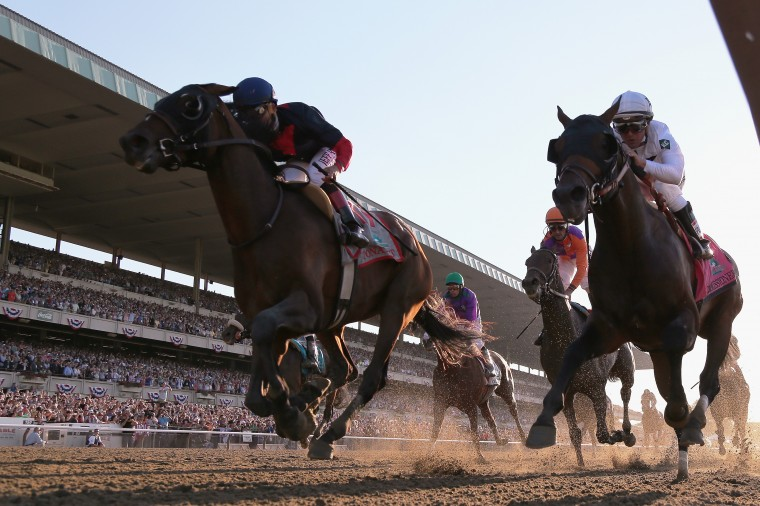 Tonalist (11, L), ridden by Joel Rosario, races to the finish line enroute to winning the 146th running of the Belmont Stakes at Belmont Park in Elmont, N.Y. Preakness and Derby winner California Chrome (3) finished tied for fourth.(Rob Carr/Getty Images)
