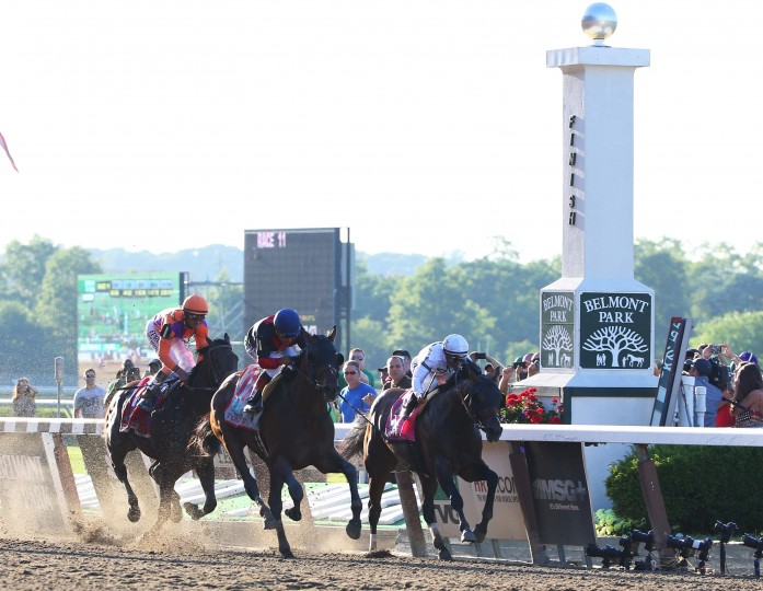 Joel Rosario aboard Tonalist (11) wins the 2014 Belmont Stakes at Belmont Park as Javier Castellano aboard Commissioner (8) and Robby Albarado aboard Medal Count (1) finish 2nd and 3rd respectively. (Anthony Gruppuso/USA Today Sports)