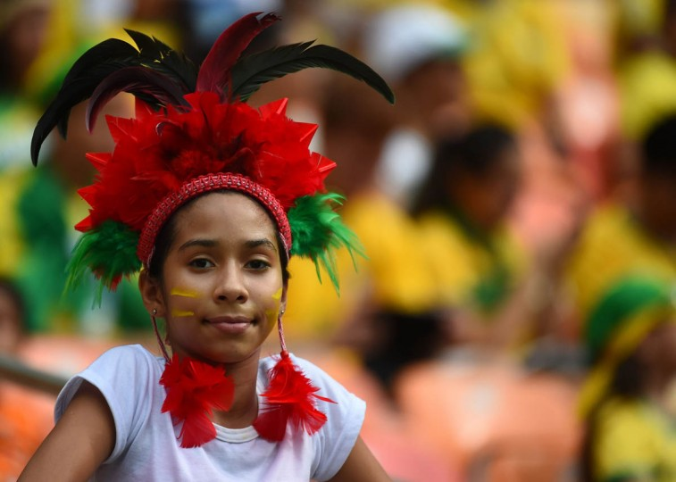 A fan attends the Group E football match between Honduras and Switzerland at the Amazonia Arena in Manaus during the 2014 FIFA World Cup on June 25, 2014. (Anne-Christine Poujoulat /Getty Images)
